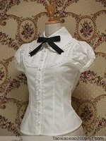 2018 Summer Women Short Sleeve White Chiffon Victorian Lolita Shirt Tops Black Bow Tie Gothic Blouse For Ladies