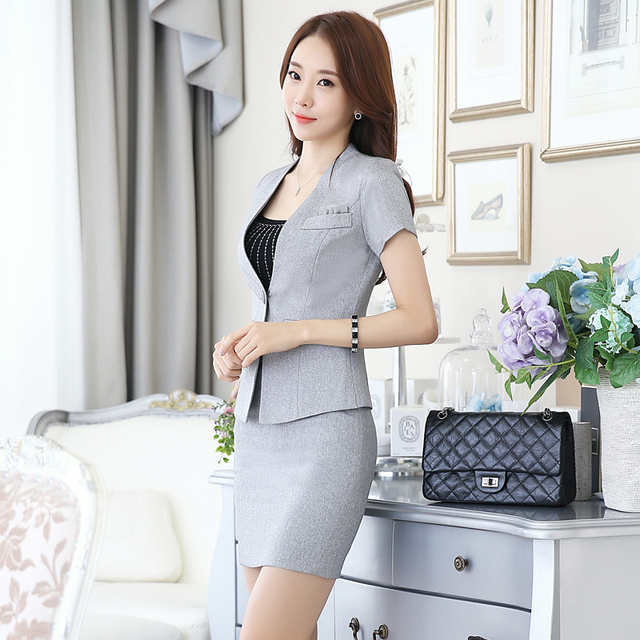 Novelty Grey Summer Slim Fashion Professional Skirt Suits With Jackets And Mini Skirt Ladies Office Business Uniforms Outfits