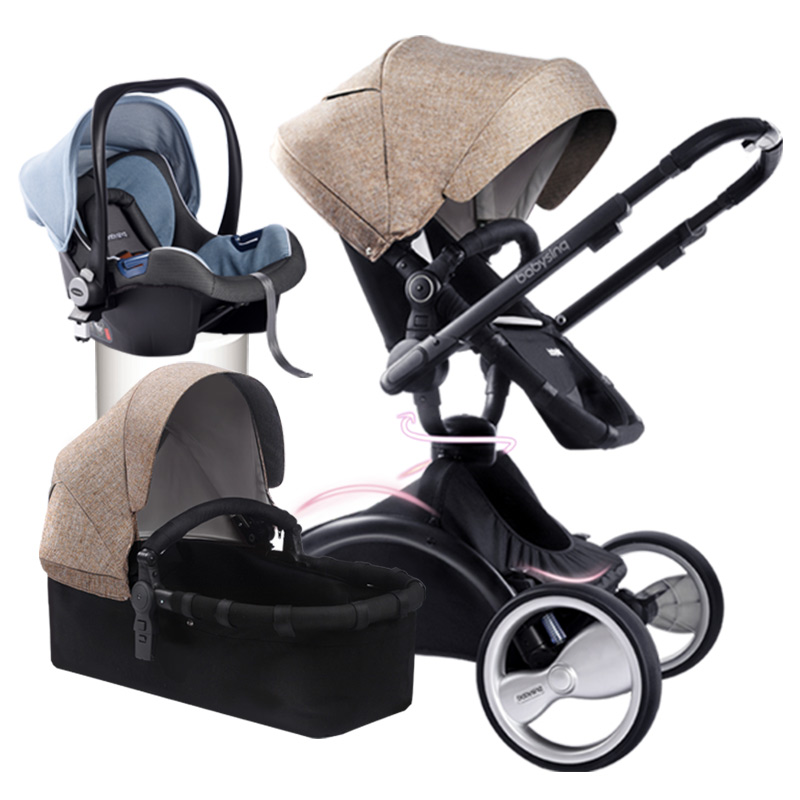 Fashion 360 Degree Rotation 3 in 1 Baby Stroller Pushchair Sleeping Basket Car Seat Bidirectional Suspension