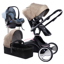 Fashion 360 Degree Rotation 3 in 1 Baby Stroller (Pushchair+Sleeping Basket+Car Seat ) Bidirectional Suspension Baby Carriage