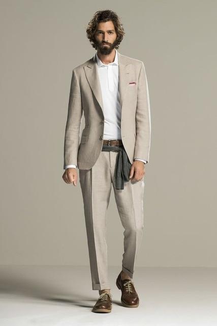 ea9741258e25 Tailor Beige Linen Summer Beach Mens Suit Groom Tuxedos Groomsmen ...