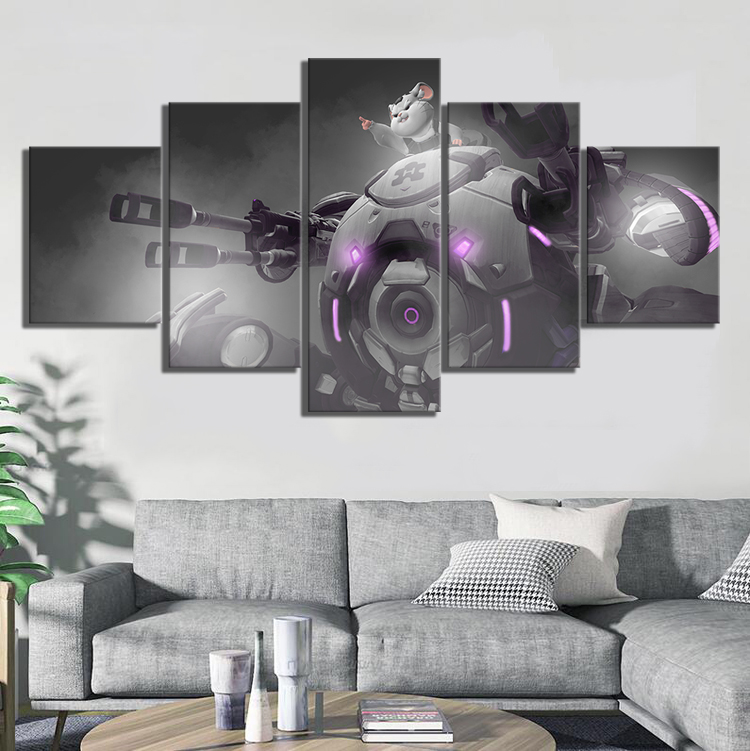 5 Piece HD Cartoon Robot Picture OW Game Poster Paintings OVERWATCH Video Games Wall Sticker Canvas Paintings for Wall Decor 1