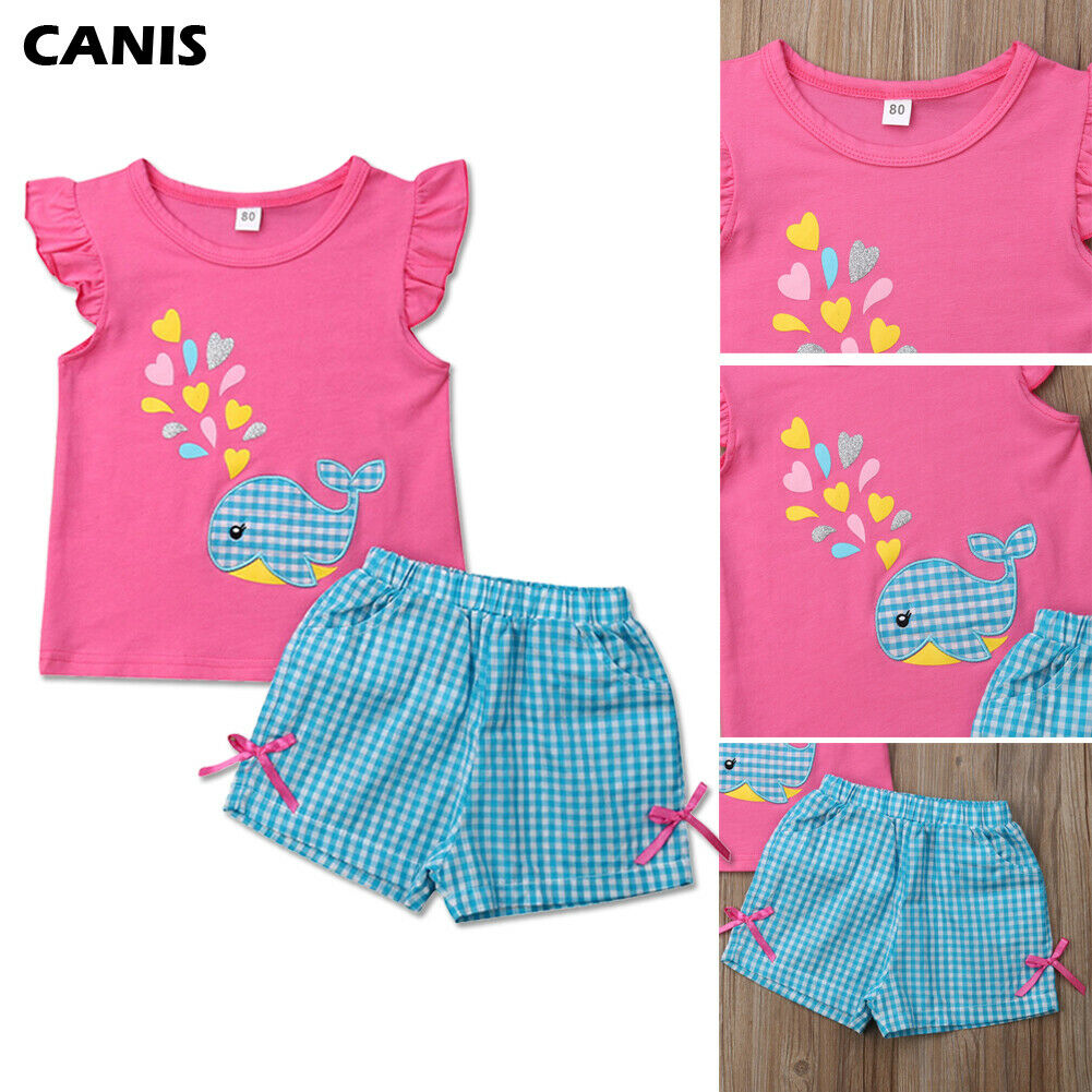 Toddler Baby Girl Summer Clothes 2pcs Cute Whale Print T-Shirt+Short Plaids Pants Outfits Set
