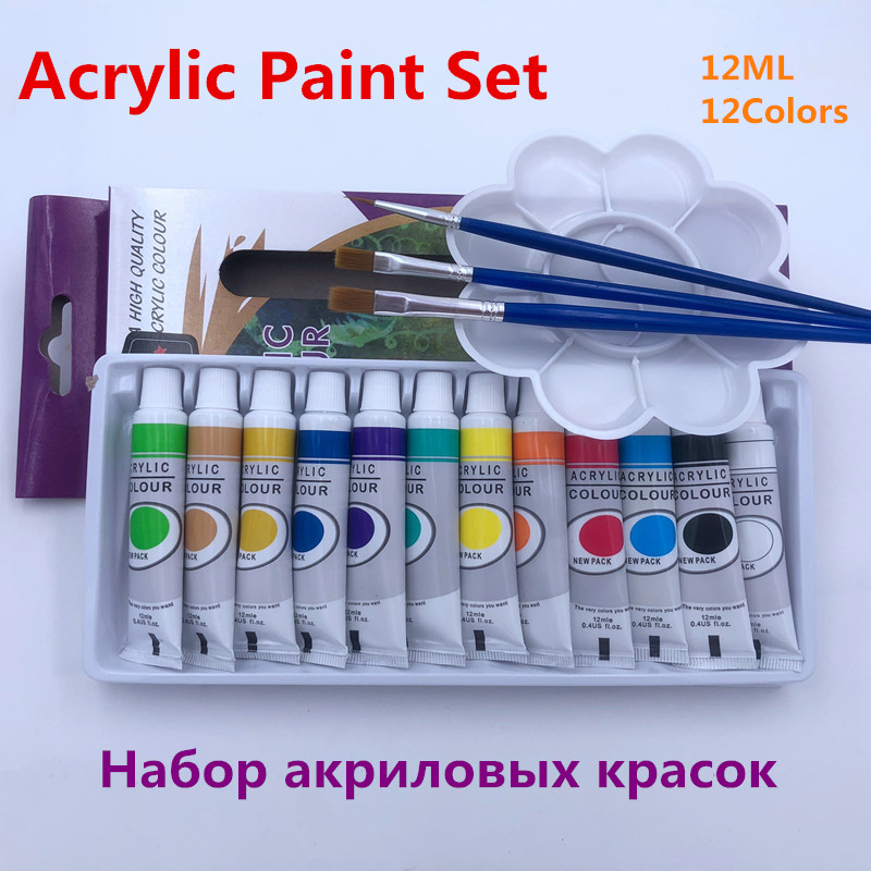 12ML 12Colors Set Acrylic Paints Pigment for Artists 12 Tubes Nail Art Painting Drawing Tool Free For Brush And Paint Tray professional 24pcs set paint acrylic paint tube set nail art painting drawing tool for artist kids diy design free for brush