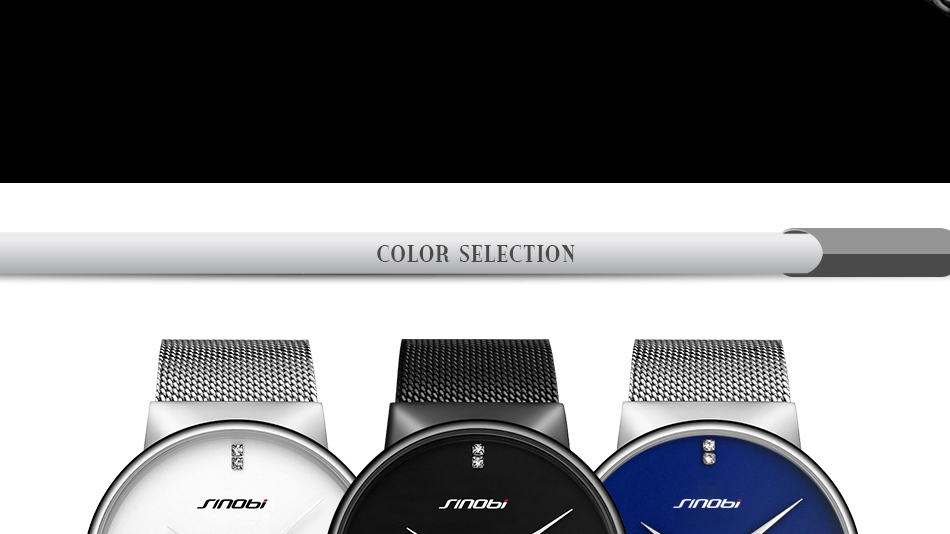 SINOBI Men Quartz Watch Luxury Top Brand Fashion Mesh Delicate Ultra-thin Business Watch Full Stainless Steel Male Wrist Watches 5