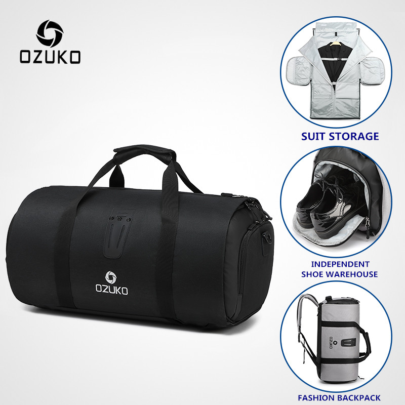 Ozuko Travel Bag Multifunction Large Capacity Men Waterproof Duffle For Trip Suit Storage Hand Luggage Bags With Shoe Pouch