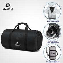 OZUKO תיק נסיעות קיבולת גדולה תכליתי גברים עמיד למים דובון תיק לטיול חליפת אחסון מטען יד שקיות עם נעל פאוץ