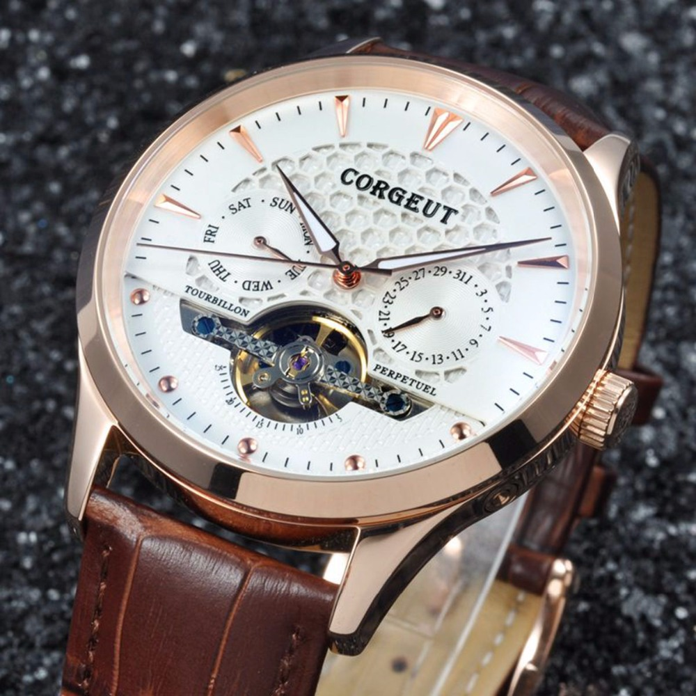 luxury top brand Corgeut 44mm Domed Glass watch clock Rosegold Case calendar Mens Automatic WristWatch relogio masculino luxury top brand Corgeut 44mm Domed Glass watch clock Rosegold Case calendar Mens Automatic WristWatch relogio masculino