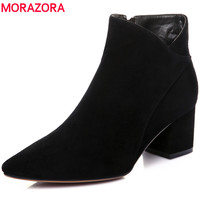 MORAZORA Plus Size Full Genuine Leather Boots Women Pointed Toe Sheepskin Autumn Ankle Boots For Women
