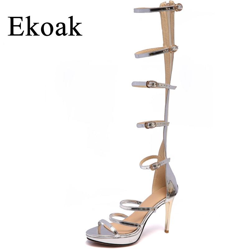 Ekoak New 2018 Sheepskin Women Sandals Summer Women Shoes Genuine Leather Gladiator Sandals Ladies High Heels Party Shoes Woman phyanic 2017 gladiator sandals gold silver shoes woman summer platform wedges glitters creepers casual women shoes phy3323