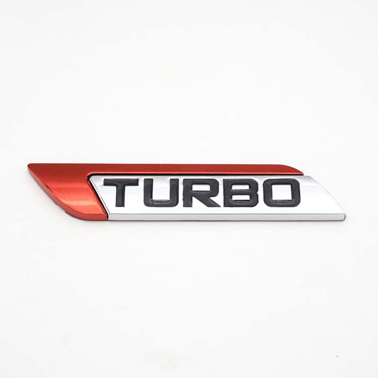 2 Brand New TURBOCHARGED Turbo Charged Badges Sticker Emblem Silver Red