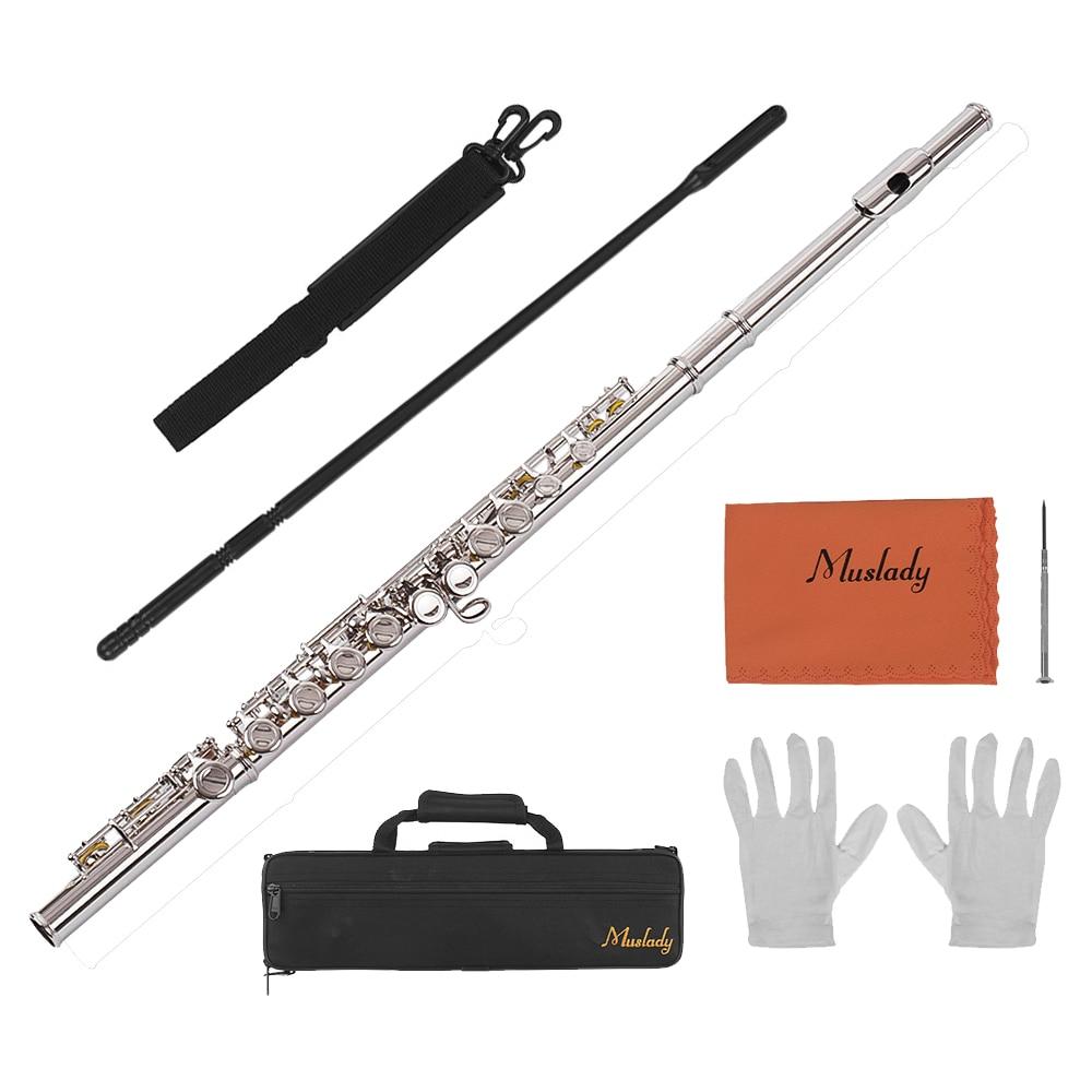 Muslady 16 trous Concert flûte trou fermé flûte C clé flûtes Cupronickel bois Instrument avec nettoyage chiffon tige gants