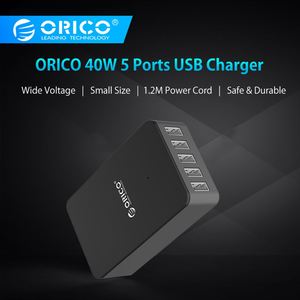 ORICO CSE Desktop USB Charger 5V 2.4A 5 Ports Portable Tarvel USB Charger EU US UK Plug Adapter for Smart Phone Tablet