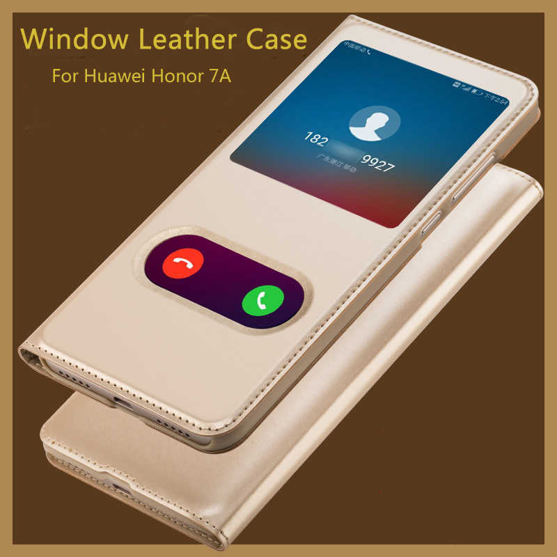 For Case On Huawei Honor 7A Pro Case Honor 7A 7 A Pro Cover back Luxury Flip Leather View Window Hard PC Shockproof Protetor