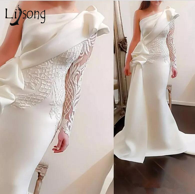 Elegant One Shoulder Mermaid Long Prom Dresses 2018 White Long Sleeves Prom Gowns Satin Ruched Ruffles Applique Sweep Train (China)