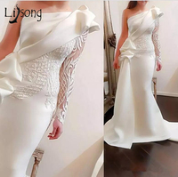 Elegant One Shoulder Mermaid Long Prom Dresses 2018 White Long Sleeves Prom Gowns Satin Ruched Ruffles Applique Sweep Train