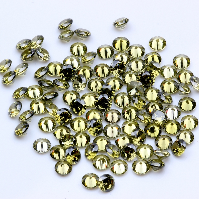 US $7 89 9% OFF|Olive Color 100pcs 1mm 4mm 5A Round Beads Cut CZ Stone  Brilliant Cubic Zirconia Synthetic Gems stone-in Rhinestones & Decorations  from