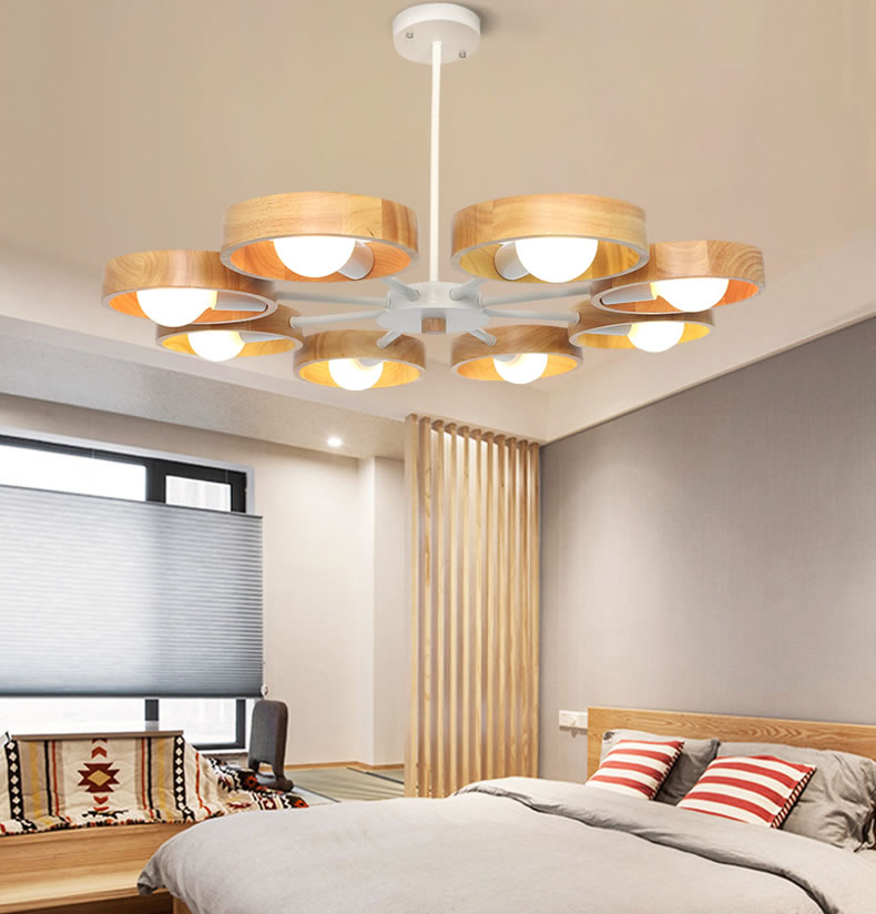 Nordic wood chandelier lamp modern minimalist dining room den bedroom living room chandelier creative personality Wooden led creative personality for contemporary and contracted wooden desk lamp fold wood rocker fashionable living room