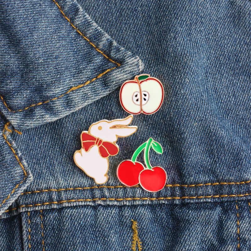 Lucu Kartun Bros Pizza Apple Cherry Kelinci Ikon Enamel Pin Gesper Lencana Jaket Shirt Lapel Pin Korsase Perhiasan Hadiah