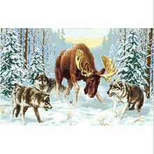 elk deer is surrounded by wolves cross stitch diamond painting kit full gear beads embroidery crystal art handicraft home decor