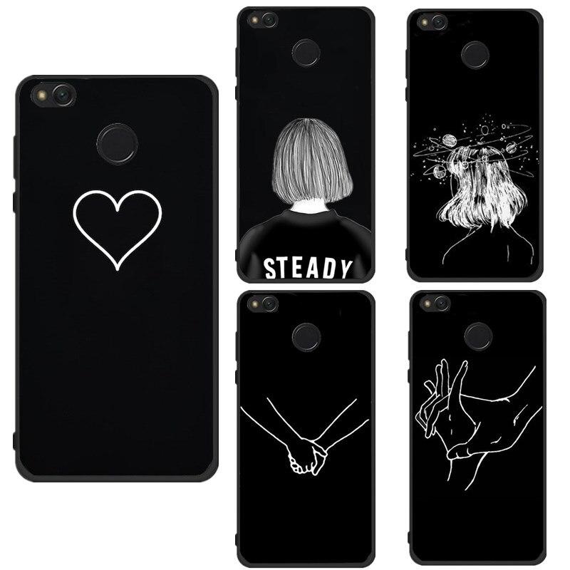 Bags For Xiaomi Mi A1 5A Case Cute Girl Black Love Heart Women Coque For Xiaomi Redmi 4A 4X Note4 5A Fundas Shell Capas