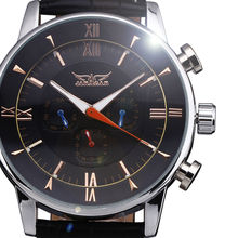 New Arrivals 2016 Fashion JARAGAR Mens Top Brand Watch Three Dial Multifunction Sport Male Leather Strap