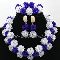 Gorgeous Royal Blue&Clear White African Beaded Lace Jewelry Set Nigerian Wedding Crystal Beads Necklace Set Free Shipping ABK915