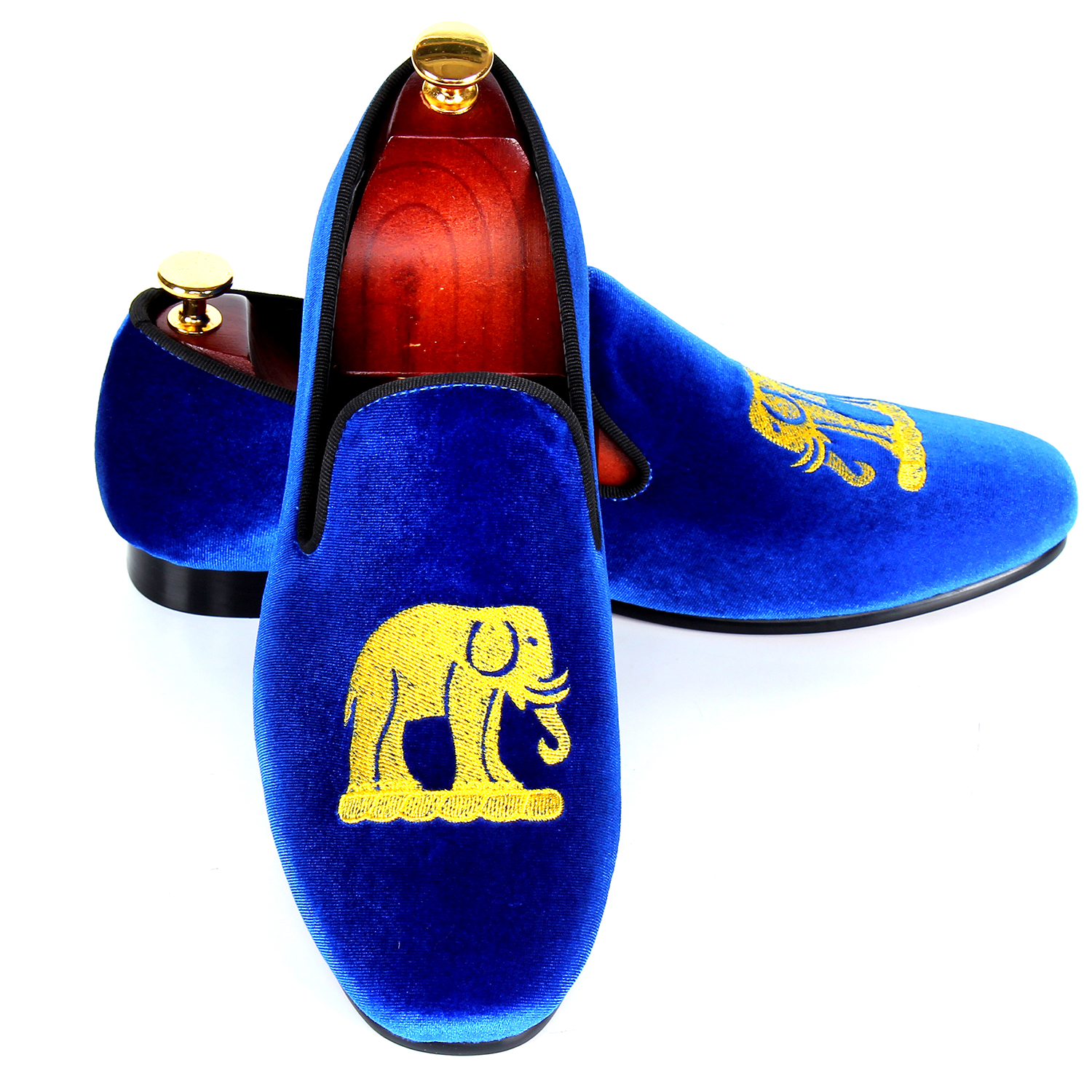 Blue Velvet Loafers For Men Handmade Embroidery Smoking Slippers Leisure Shoes Flats Red Bottom Sole Free Shipping Size 7-13 men casual shoes green velvet loafers prince albert slippers handmade embroidered footwear