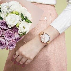 Image 4 - Shengke nova marca de luxo das mulheres relógio simples quartzo senhora relógio de pulso à prova dwaterproof água moda feminina relógios casuais reloj mujer