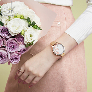 Image 4 - Shengke חדש נשים יוקרה מותג שעון פשוט קוורץ גברת עמיד למים שעוני יד נשי אופנה מזדמן שעונים שעון reloj mujer