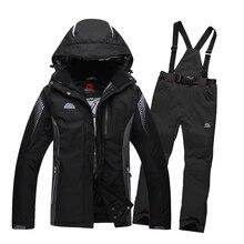 Livraison gratuite Hiver ski veste Hommes et femmes couples ski manteau costume thermique snowboard vestes et pantalons femelle ski vêtements