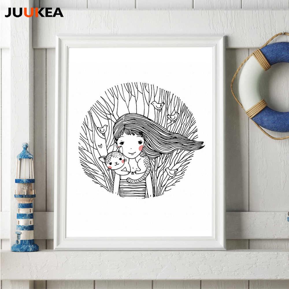 Hitam Putih Sketsa Hutan Tanaman Rambut Panjang Gadis Kucing