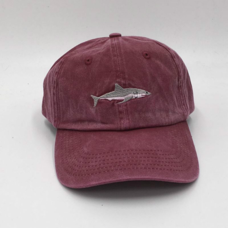 which shower claret black adjustable stitched shark baseball cap hip hop for women men washed fin hat paul