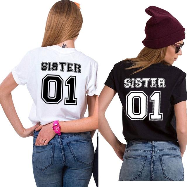 f07f7033 Sister 01 shirts Siblings Tee Women 2018 Black White Cotton T Shirt Tumblr  Ins Chic Sisters T-Shirt Female Letter Tshirt F61853