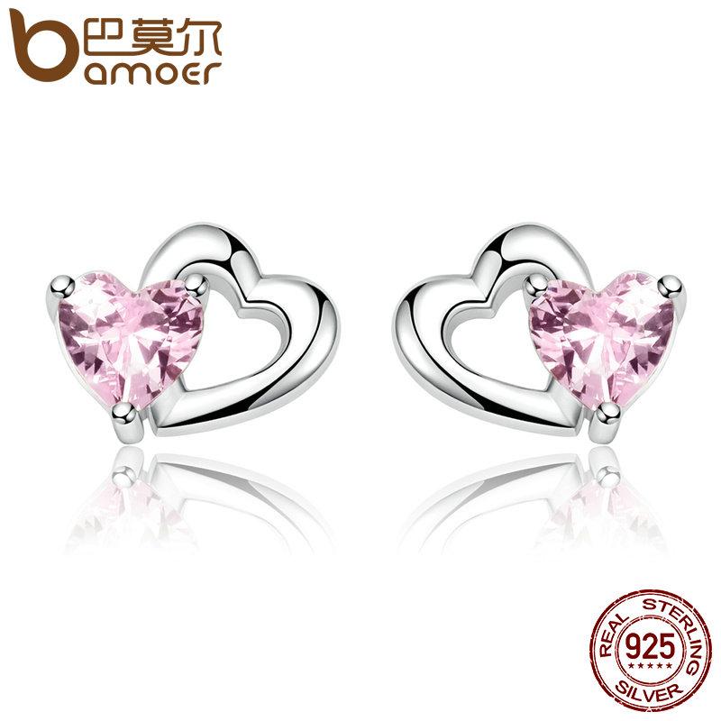 BAMOER 925 Sterling Silver Double Heart to Heart Pink CZ Stud Earrings for Women Brincos Fine Jewelry Bijoux SCE090