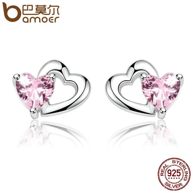 BAMOER Genuine 925 Sterling Silver Double Heart to Heart Pink CZ Stud Earrings for Women Brincos Fine Jewelry Bijoux SCE090 худи print bar pink heart