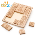 Free shipping wood creative educational Romance of Three Kingdoms wooden puzzle box children toy huarong road king escape game