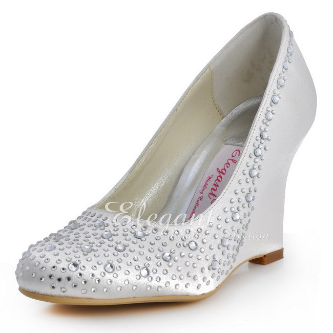 EP2003 Women Wedges Size 9 Ivory Wedding Bridal Shoes Peep