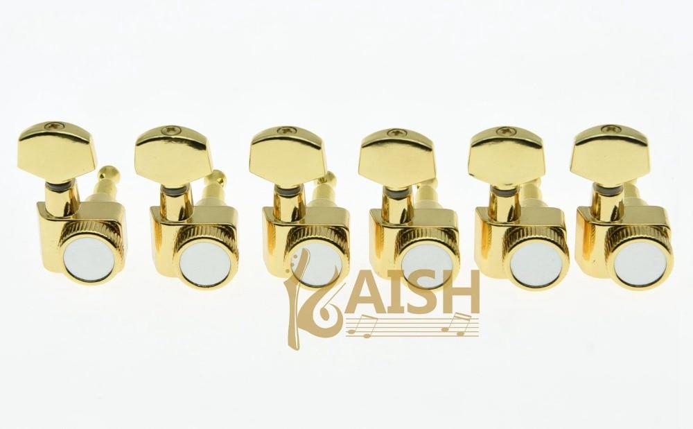 Gold 6 Inline 2 Pin Locking Tuning Keys Pegs Tuners Fits USA Strat Tele kaish black 6 inline 2 pin locking tuning keys pegs tuners fits usa strat tele