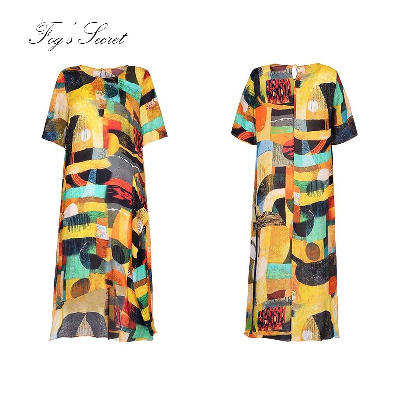 Soie Robes Automne Conduites Carburant Colorée Lâche Peinture Art Robe D'été De Imprimer 2019 Pour Femme Casuais Irrégulière qfawtvOAx
