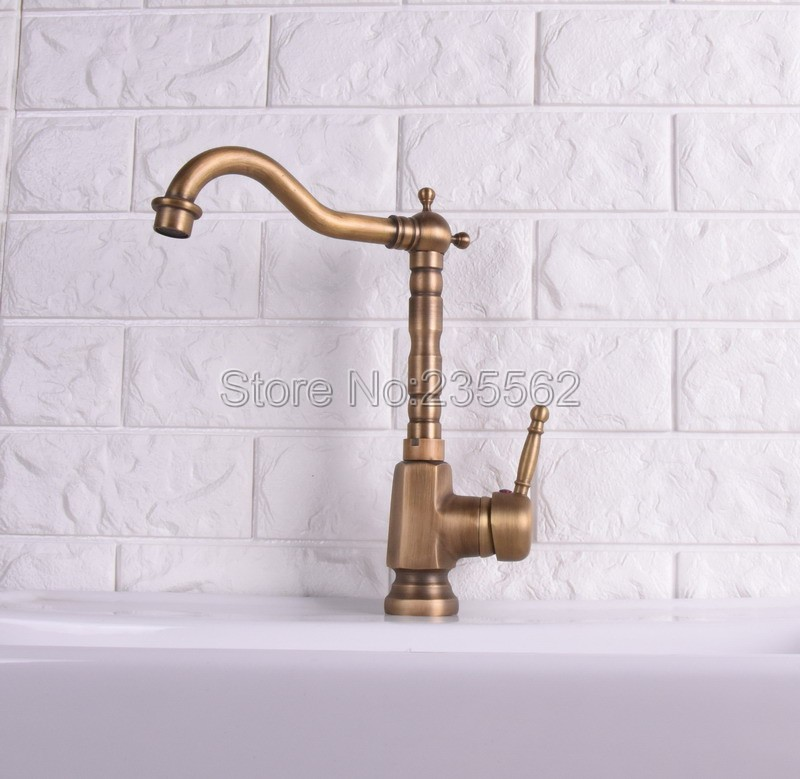 Antique Brass Swivel Kitchen Faucet Single Handle Hole Sink Hot & Cold Mixer Tap lsf121Antique Brass Swivel Kitchen Faucet Single Handle Hole Sink Hot & Cold Mixer Tap lsf121