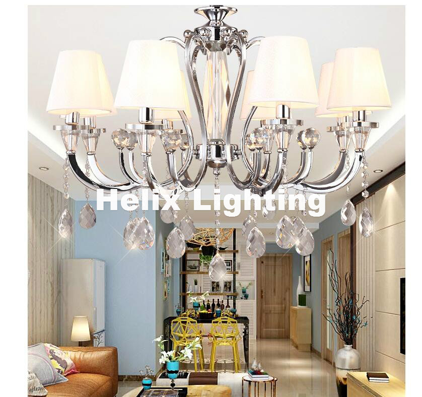 Free Shipping Modern Chrome European Style Fabric Lampshade K9 Crystal Chandeliers 5L 6L and 8L AC E14 LED Light Source LightingFree Shipping Modern Chrome European Style Fabric Lampshade K9 Crystal Chandeliers 5L 6L and 8L AC E14 LED Light Source Lighting