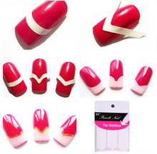 цена на 3pcs/lot Each Pack includes 48 guides French Manicure Nail Art Form Fringe Guides Sticker DIY Stencil