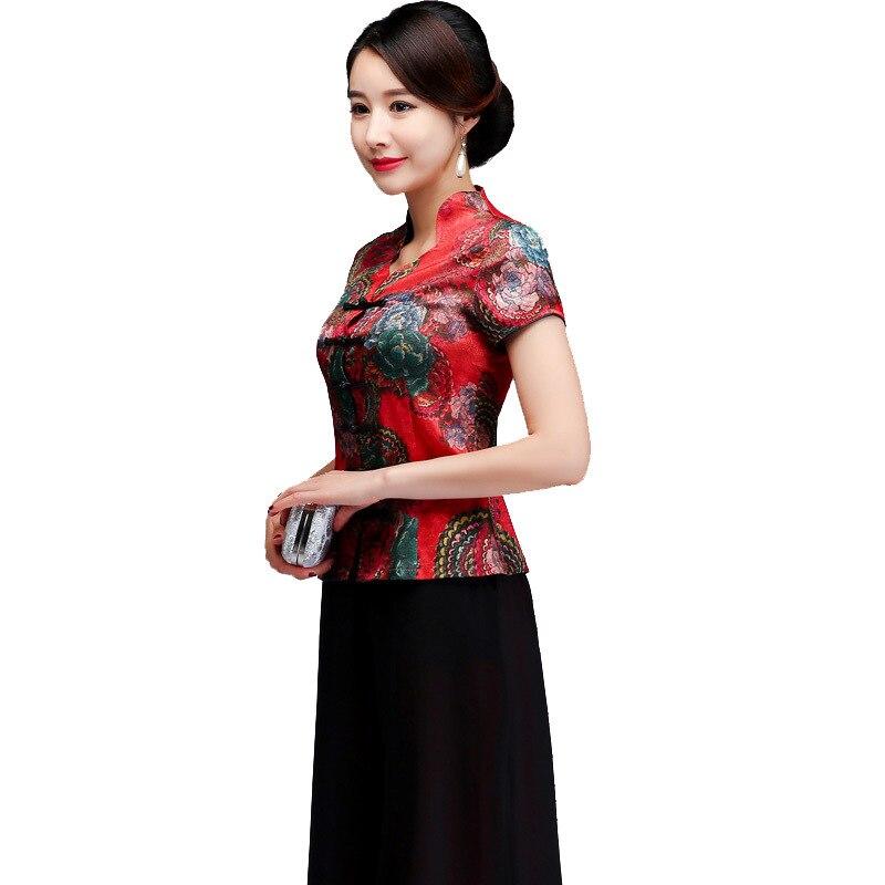 Été à manches courtes petit haut chinois Vintage femmes vêtements Sexy simple boutonnage chemise élégante mère mariage Blouse M-4xl