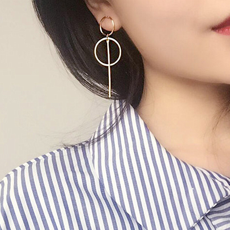 NEW Gold Metal Tassel Earrings for Women Long Circle Pendant Earings Fashion Jewelry Statement Geometric Vorbellen Voor Vrouwen