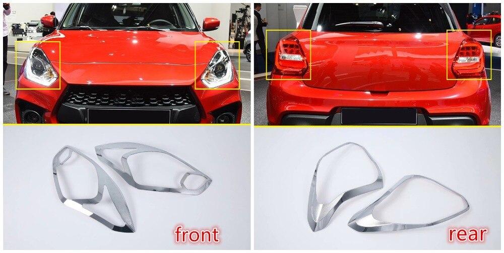 цена на For Suzuki Swift 5-door hatchback 2018 2019 ABS Chrome Front+Rear Tail Light Lamp Bezel Cover Trim 4pcs Car Accessories