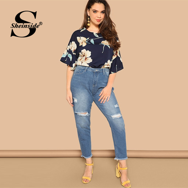 Sheinside Plus Size Floral Print Flounce Sleeve Blouse Women 2019 Summer Casual Half Sleeve Blouses Ladies Keyhole Back Top 4