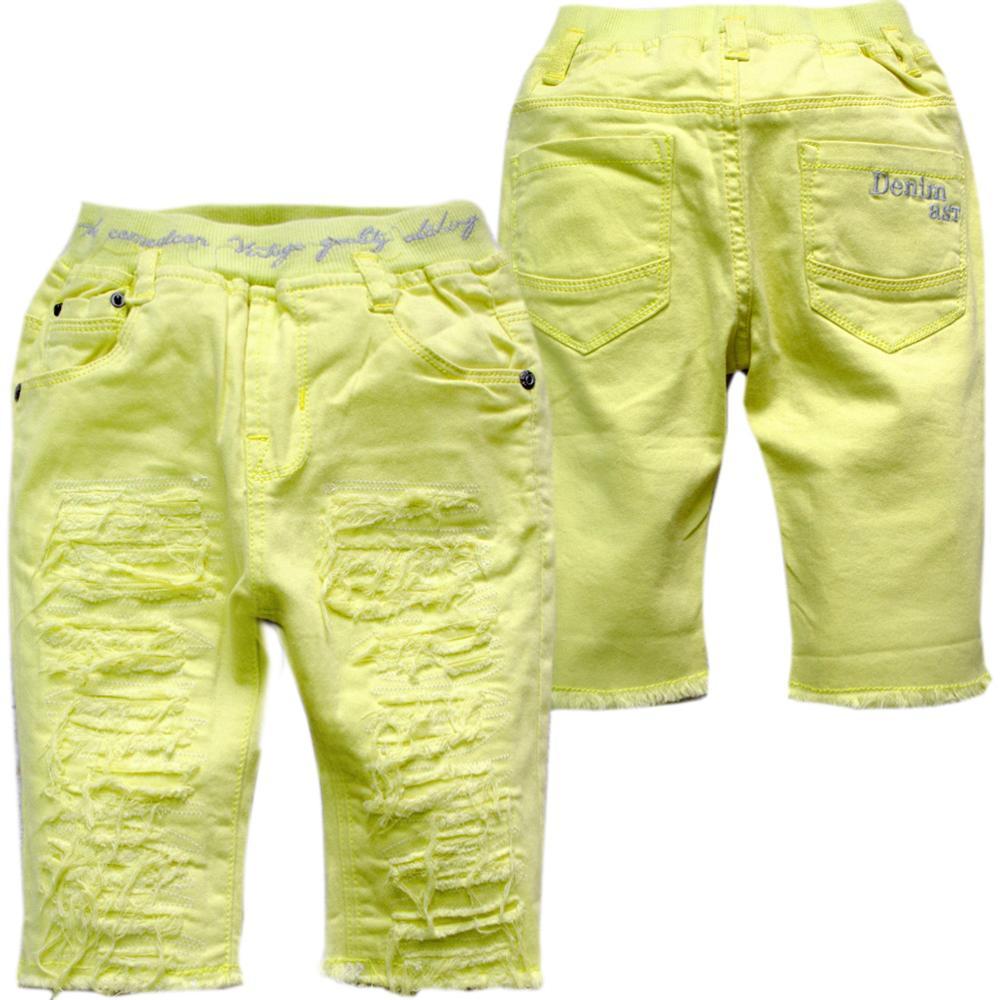 40431 vasaras bērnu bikses zēnu aukstuma apģērbs 70% garuma teļa garums dzeltens