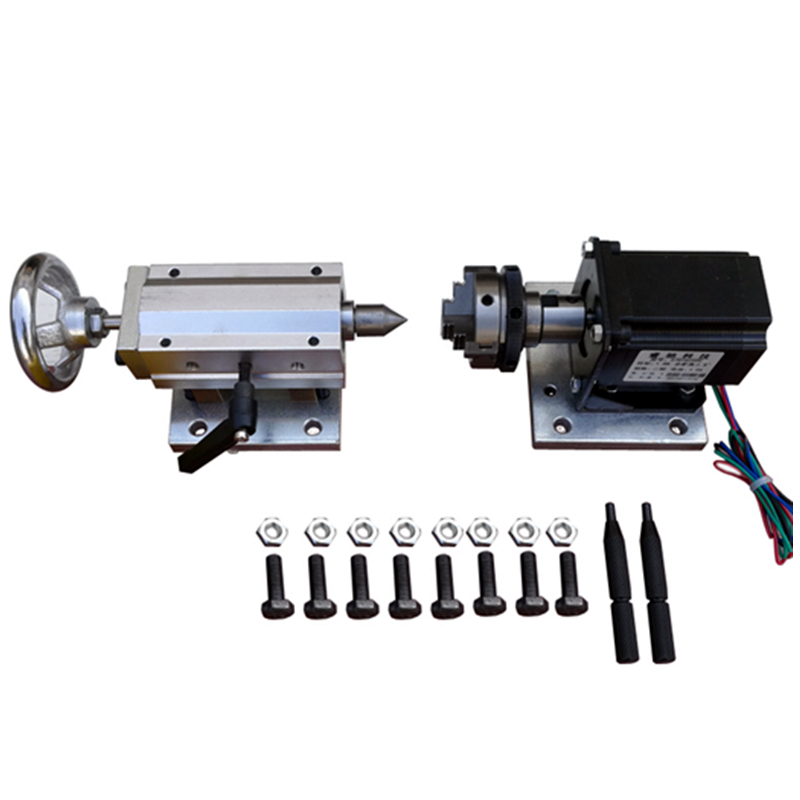 Poupée mobile à axe rotatif avec mandrin à 3 mâchoires de 50mm pour CNC le travail du bois et la gravure sur métal
