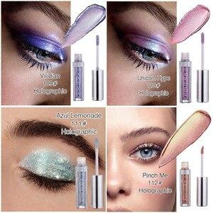 Image 3 - PHOERA sombra de ojos de 12 colores, maquillaje, sombra de ojos líquida con brillo y brillo metálico, 2018